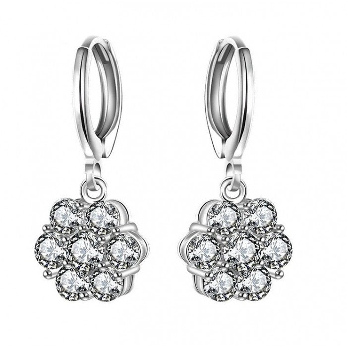 18K White-Gold plated Susanne Dangle Earrings-Romatco