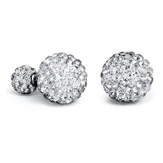 18K White-Gold plated Double-sided Stud Earrings-Romatco