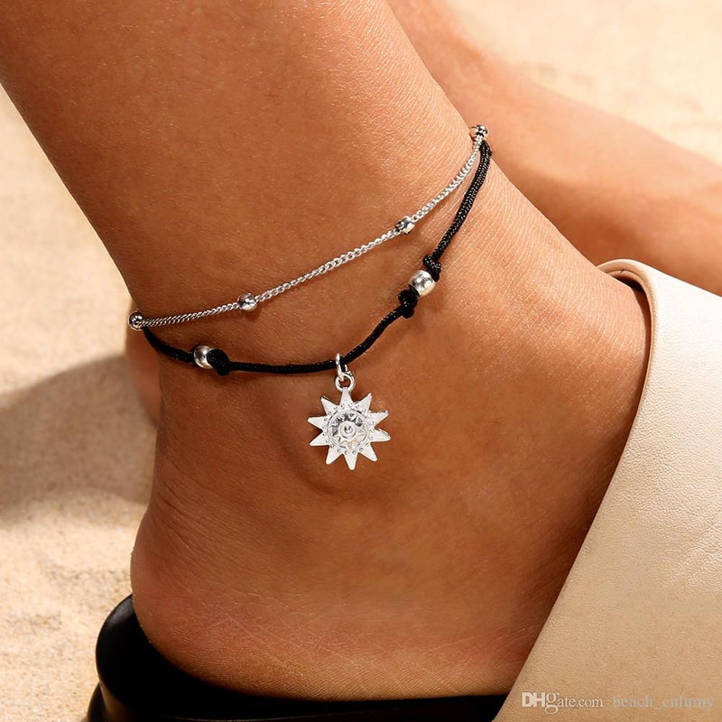 Double Layer Sun Charm Anklet-Romatco