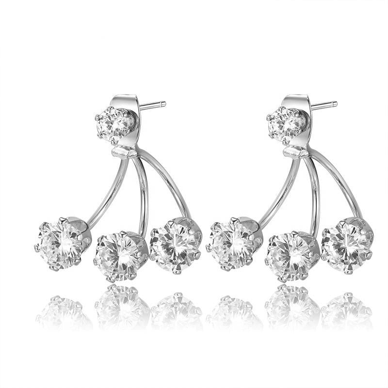 18K White-Gold Plated Double Sided Triple Studs Earrings-Romatco
