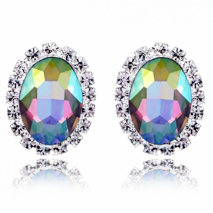 18K White-Gold plated Eva Stud Earrings - Romatco Jewelry
