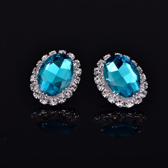 18K White-Gold plated Eva Stud Earrings-Romatco