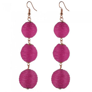 Pom Pom Long Drop Earrings-Romatco