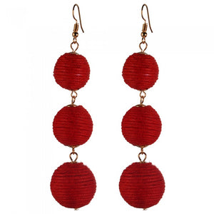 Pom Pom Long Drop Earrings - Romatco Jewelry