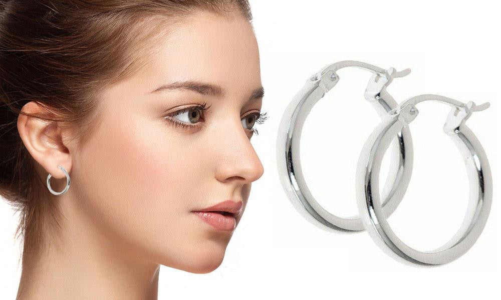 18K White-Gold Plated French Lock Hoop Earrings