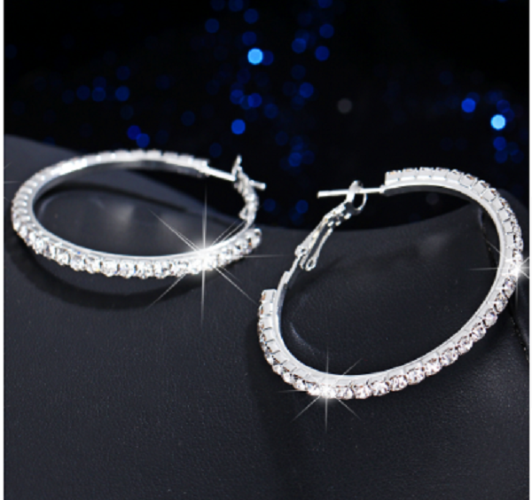 18K White-Gold plated Paloma Hoop Earrings-Romatco