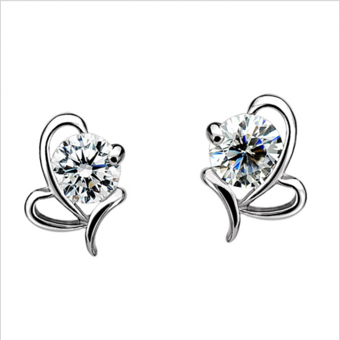 18K White-Gold Plated Fly-Heart Stud Earrings-Romatco