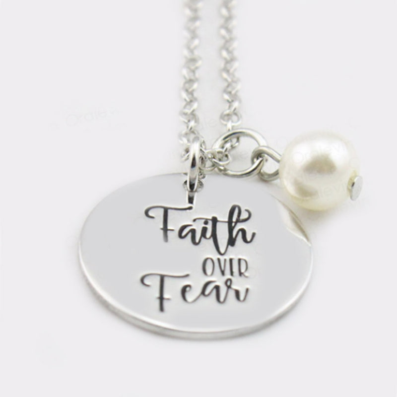 Faith Over Fear Hand Stamped Necklace-Romatco