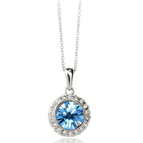18K White-Gold Plated Amelia Necklace-Light Blue Necklace romatco.myshopify.com