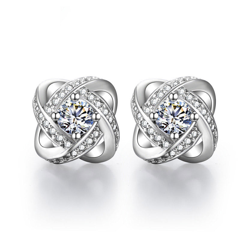 18K White-Gold Plated Love Knot Stud Earrings-Romatco