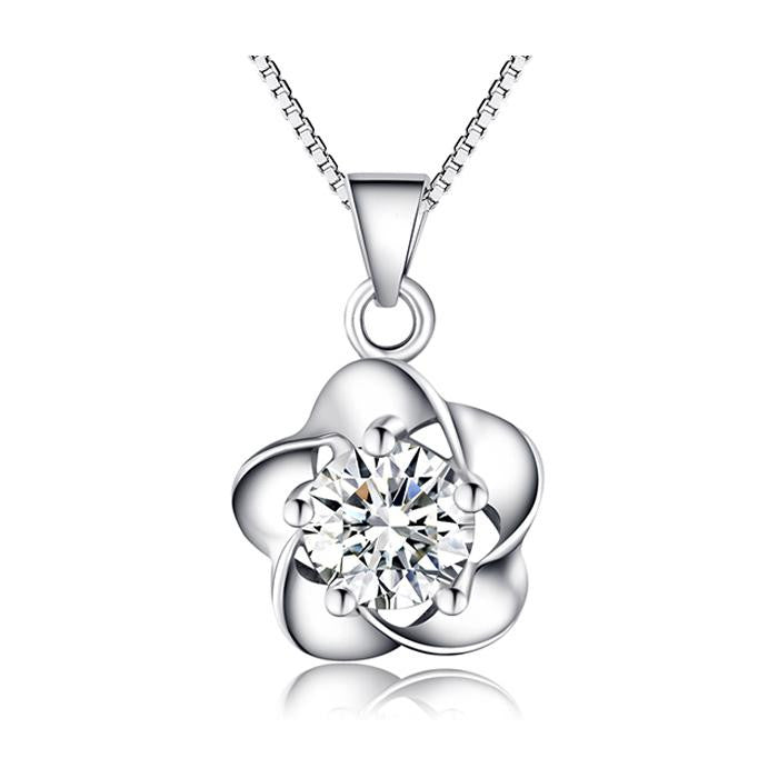 18K White-Gold Plated Flower Pendant Necklace-Romatco