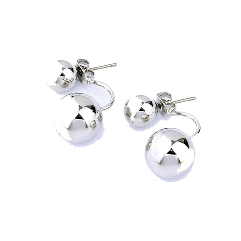 18K White-Gold Plated French Lock Front-to-Back Earrings-Romatco