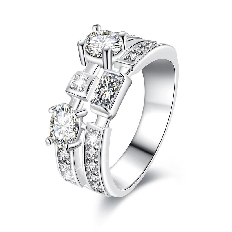 18K White-Gold Plated Ginevra Ring-Romatco