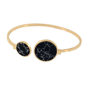22K Gold plated Marbles Open Cuff Bracelet-Romatco