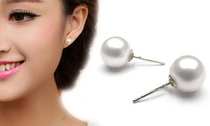 18K White-Gold plated Pearl Earrings