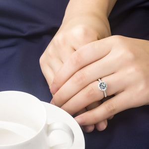 18K White-Gold Plated Round Halo Engagement Rings-Romatco