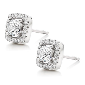 18K White-Gold Plated Halo Stud Square Earrings-Romatco