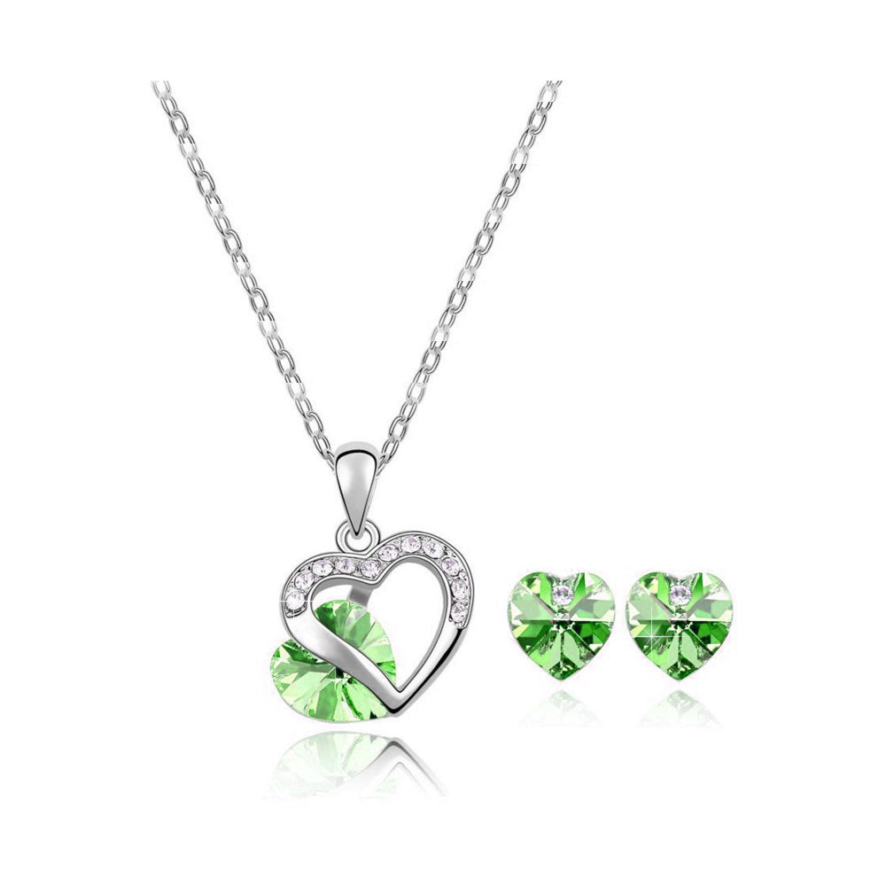 18K White-Gold Plated Peer set-Green - Romatco Jewelry
