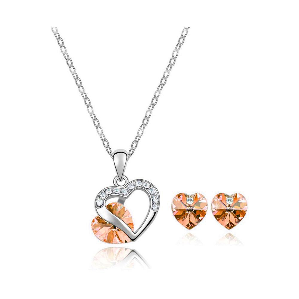 18K White-Gold plated Heart Peer Set-Orange - Romatco Jewelry