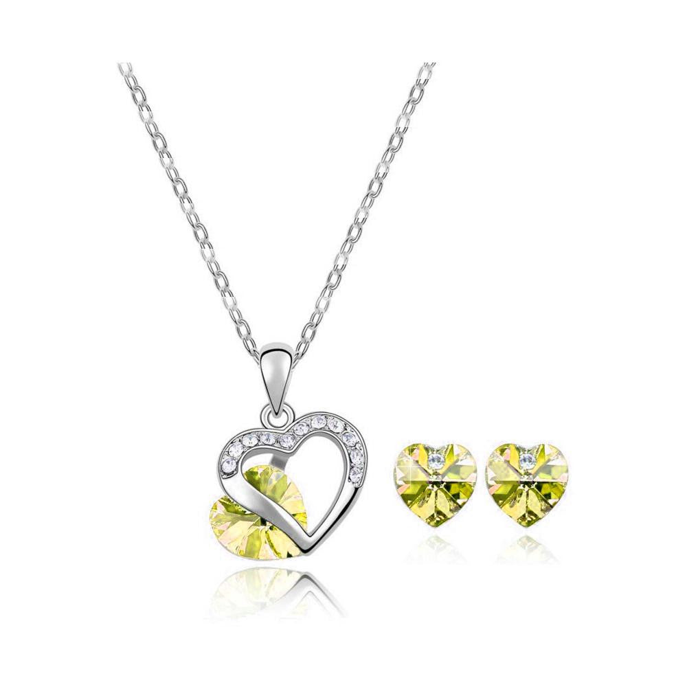 18K White-Gold Plated Heart Peer Set-Yellow - Romatco Jewelry