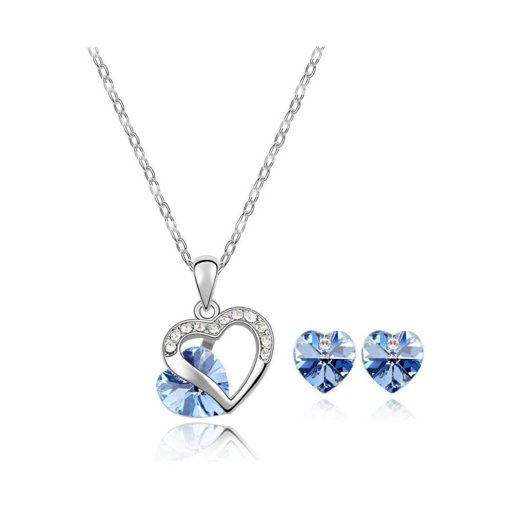 18K White-Gold plated Heart Peer Set - Romatco Jewelry