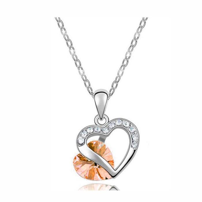 18K White-Gold Plated Heart Peer Necklace-Romatco