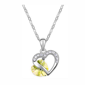 18K White-Gold Plated Heart Peer Set-Yellow-Romatco
