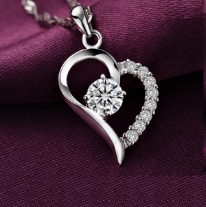 18K White-Gold Plated Heart Necklace-Romatco