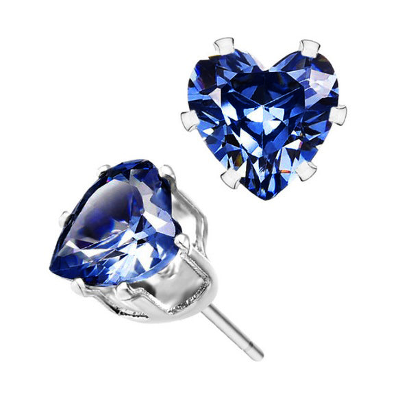18K White-Gold Plated Heart Stud Earrings-Romatco
