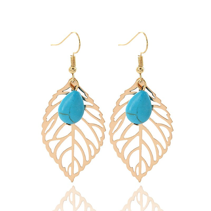 22K Gold plated Leaf Earrings - Turquoise Beaded - Romatco Jewelry