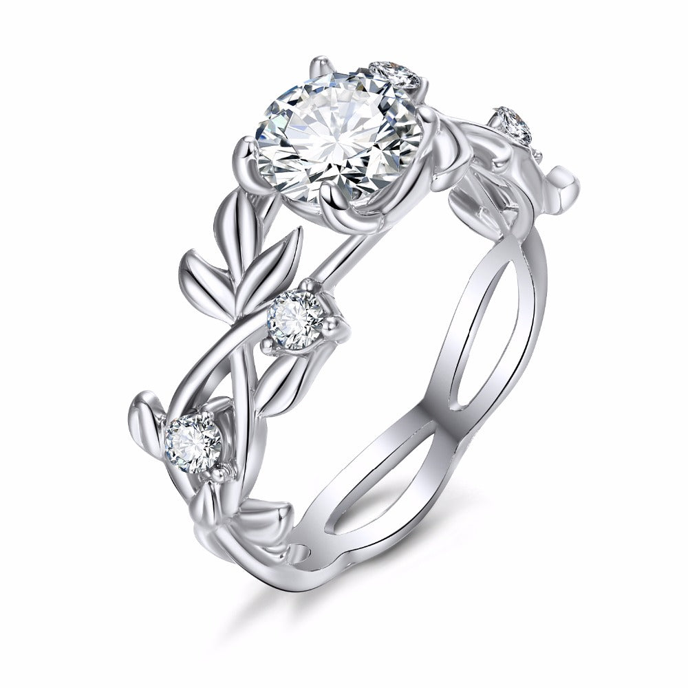 18K White-Gold Plated Princess Sapling Rings-Romatco