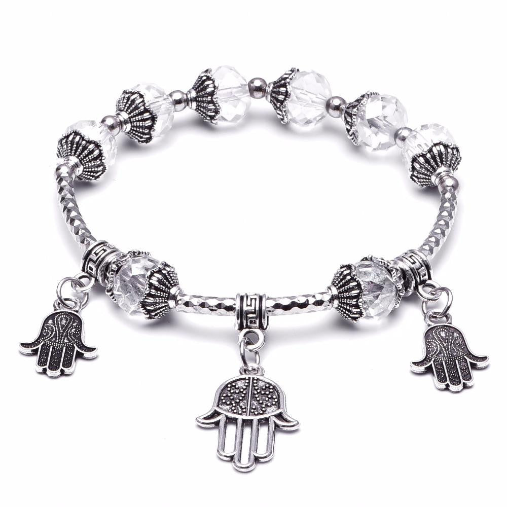 18K White-Gold Plated God's Hand Bracelet-Romatco