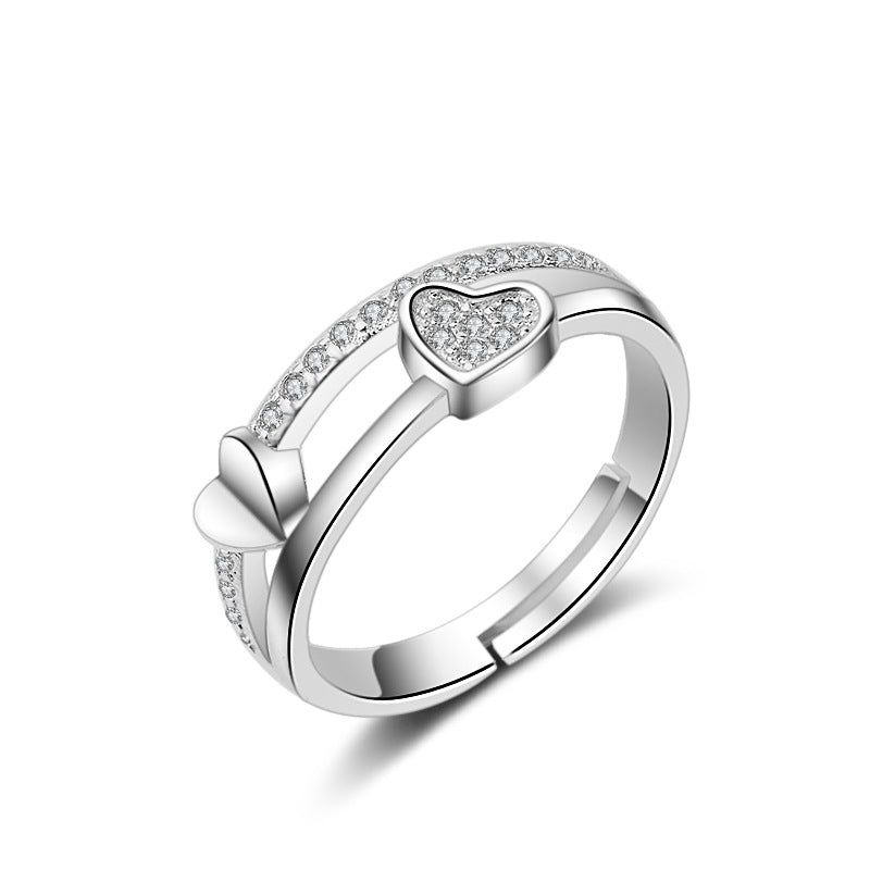 2 Row Couple Hearts Rings - Romatco Jewelry