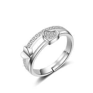 2 Row Couple Hearts Rings-Romatco