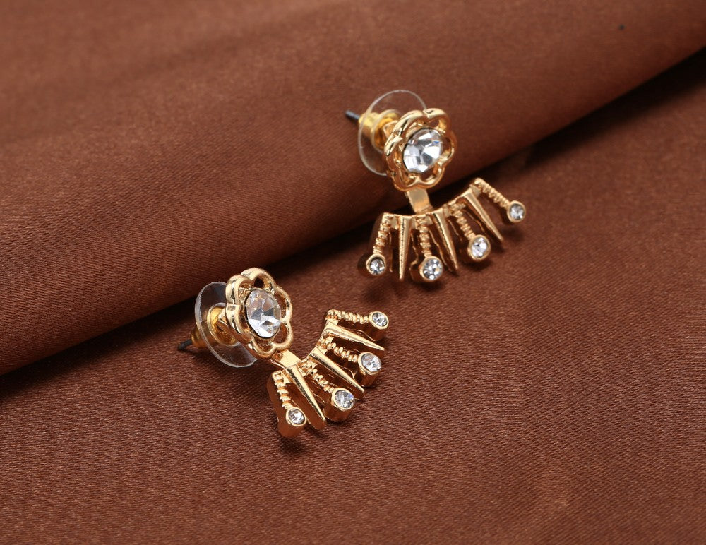 22K Gold Plated Sunflower Double Sided Earrings-Romatco
