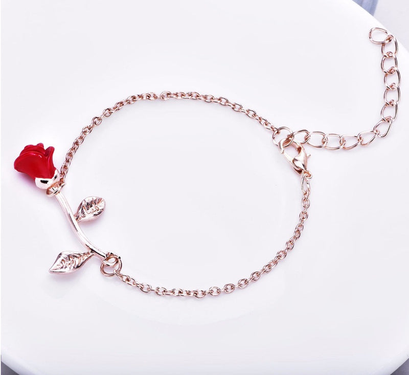 Red Rose Charm Bracelet-Romatco