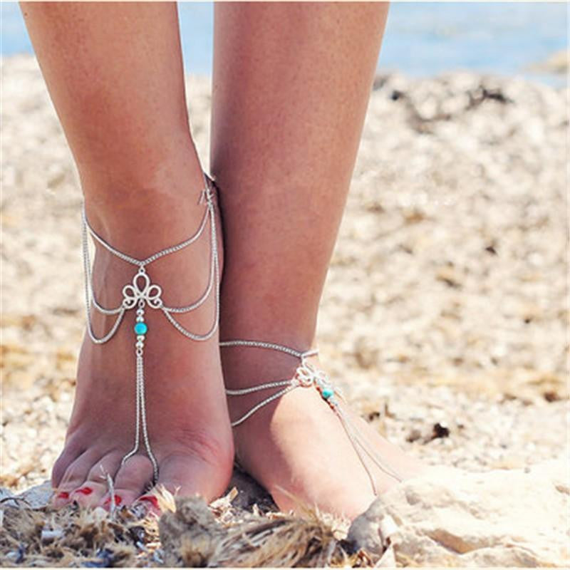 18K White-Gold Plated Antique Tassels Anklets-Romatco