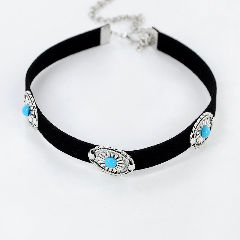 18K White-Gold Plated Vintage Flower - Turquoise Beaded Choker Necklace-Romatco