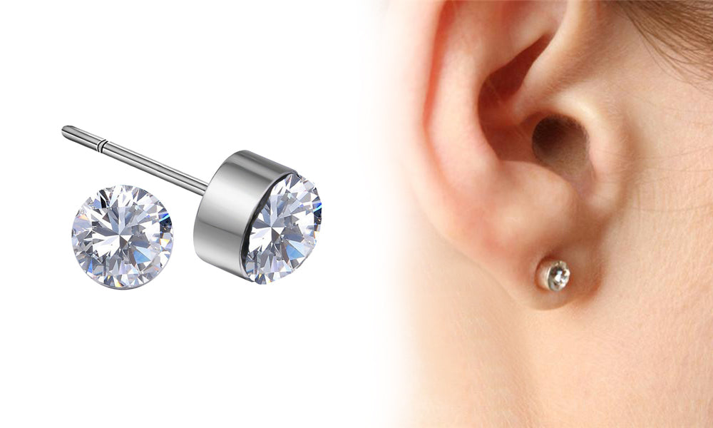 18K White-Gold Plated Lucky Stud Earrings-Romatco