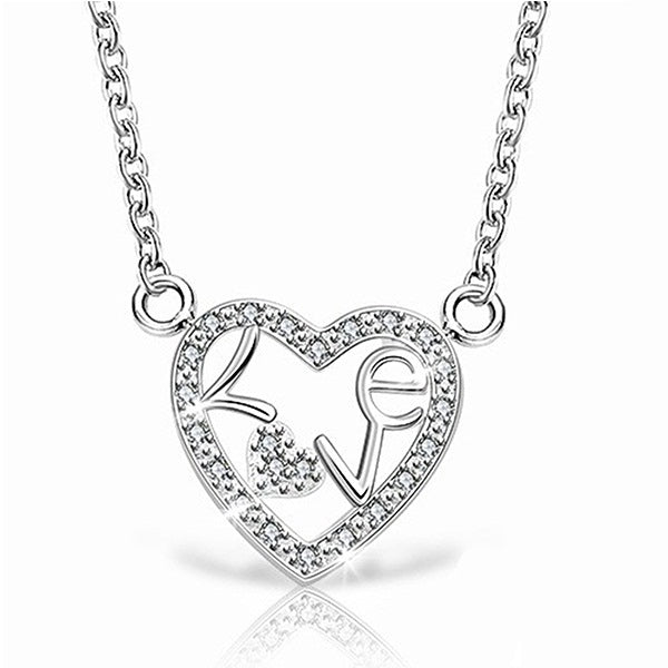 18K White-Gold plated Inside Love Necklace-Romatco