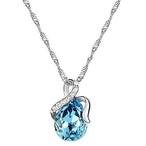 18K White-Gold Plated Dew Necklace-Aqua Necklace romatco.myshopify.com