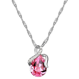 18K White-Gold Plated Dew Necklace-Pink Necklace romatco.myshopify.com