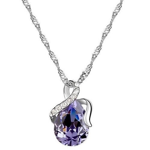 18K White-Gold Plated Dew Necklace-Purple Necklace romatco.myshopify.com