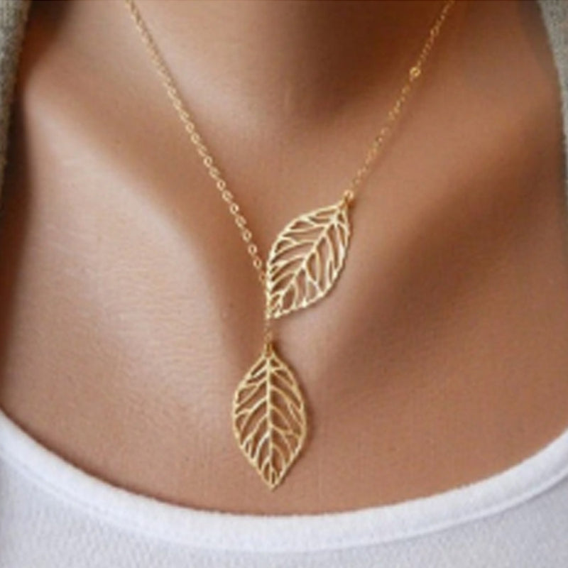 22K Gold Plated Dual Leave Necklace-Romatco