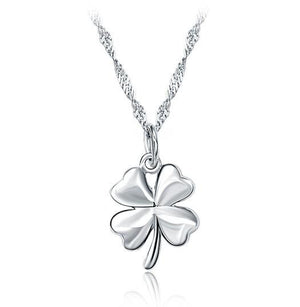 18K White-Gold Plated Clover Necklace - Romatco Jewelry