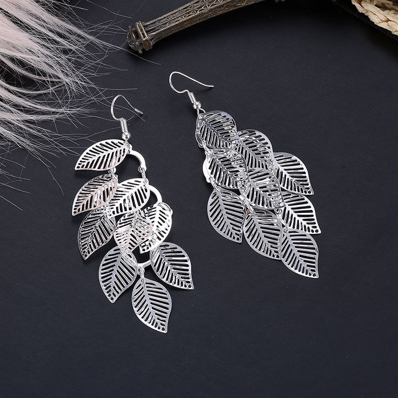 18K White-Gold plated Leaf Drop Dangling Earrings-Romatco