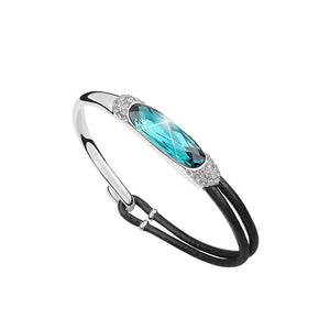 18K White-Gold plated Cora Bracelet-Light Blue Bracelet romatco.myshopify.com