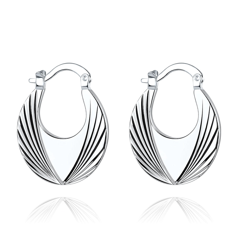 18K White-Gold Plated Parker Earrings-Romatco