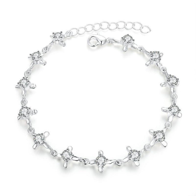 18K White-Gold plated Camelia Bracelet