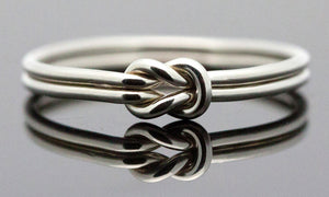 18K White-Gold Plated Love Knot Ring-Romatco